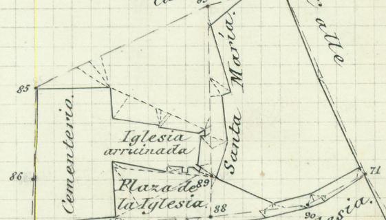 Plano de la zona donde estaba la Iglesia de Nuestra Señora del Valle (1884).