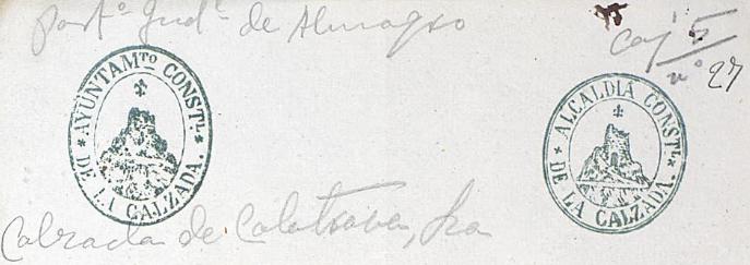 Sellos del Ayuntamiento de Calzada de Calatrava, remitidos al Archivo Histórico Nacional, de acuerdo a la Orden Ministerial de 30 de agosto de 1876.