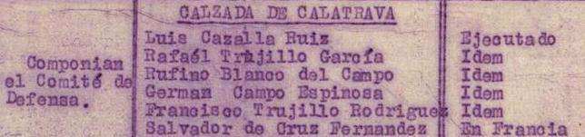 Personas que componían el Comité de Defensa local en Calzada de Calatrava.