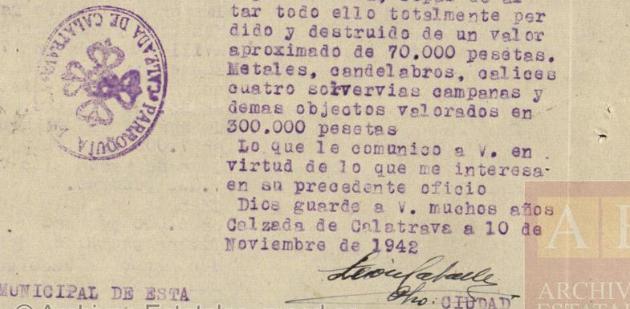 Informe del curo León Caballero de León sobre daños causados en las Iglesias de Calzada.