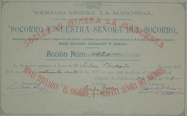 Acción de la Sociedad Minera La Manchega, propietaria de las minas denominadas Socorro y Nuestra Señora del Socorro, enclavadas en el quinto de Nava la Higuera, en el término municipal de Calzada