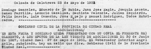 Primer reglamento de la Agrupación Obrera Socialista de Calzada de Calatrava