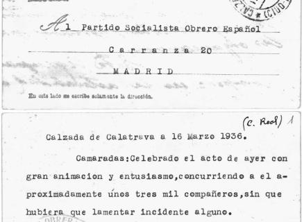 Sobre el resultado de la manifestación campesina de 15 de marzo de 1936.