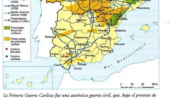 Mapa de la Primera Guerra Carlista.