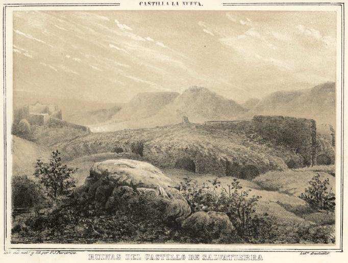 Litrografía del castillo de Salvatierra, de F. J. Parcerisa