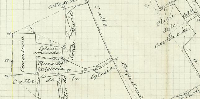 Plano de 1884, del Instituto Geográfico Nacional, donde se puede apreciar donde se encontraba la Iglesia de Ntra. Señora del Valle.