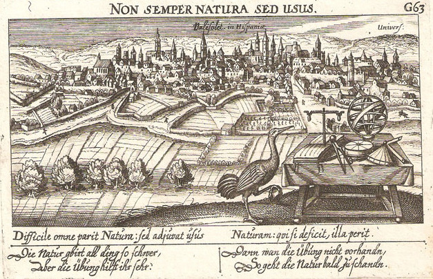 Valladolid en 1640, dibujado por los alemanes Daniel Meisner y Paulus Fürst