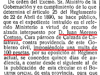 Circular publicada el 11 de enero de 1932 en el Boletín Oficial de la Provincia sobre la multa al párroco D. Juan Moreno Costoso.