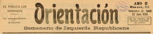 """Cabecera del Semanario de Valdepeñas """"Orientación""""."""