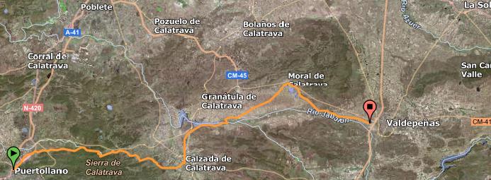 Ruta con tramos de la antigua vía de ferrocarril Valdepeñas - Puertollano y tramos de caminos públicos.