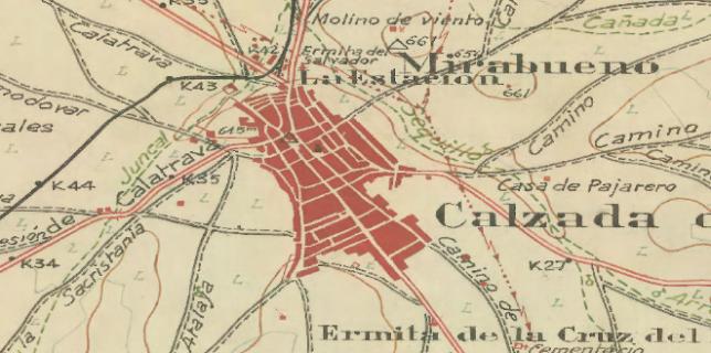 Planimetría en la que se visualiza la estación del ferrocarril de Calzada de Calatrava.