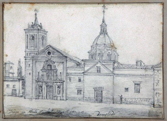 Dibujo a lápiz del antiguo convento franciscano de San Diego de Alcalá de Henares, demolido en 1859.