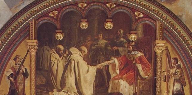 San Raimundo de Fitero recibiendo de Alfonso VII de Castilla la donación del castillo de Calatrava