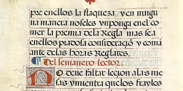 Sobre el lector de semana en la Regla de San Benito (libro del Convento de Nuestra Señora de la Asunción de Almagro).
