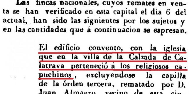 Fruto de la desamortización de Mendizábal fue la subasta del Convento de Capuchinos, como se puede observar en este imagen.