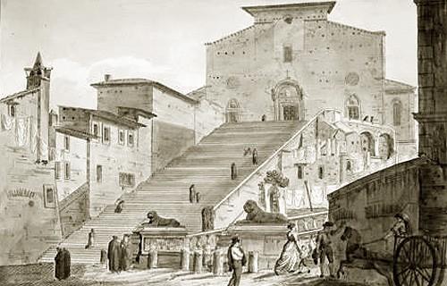 Templo de Santa María de Aracoeli y su gran escalinata. A la derecha se ven las antiguas viviendas romanas demolidas hacia 1882. A la izquierda, se distingue parte de las ruinas del ancestral templo pagano de la Colina Capitolina, en grabado italiano de 1833.
