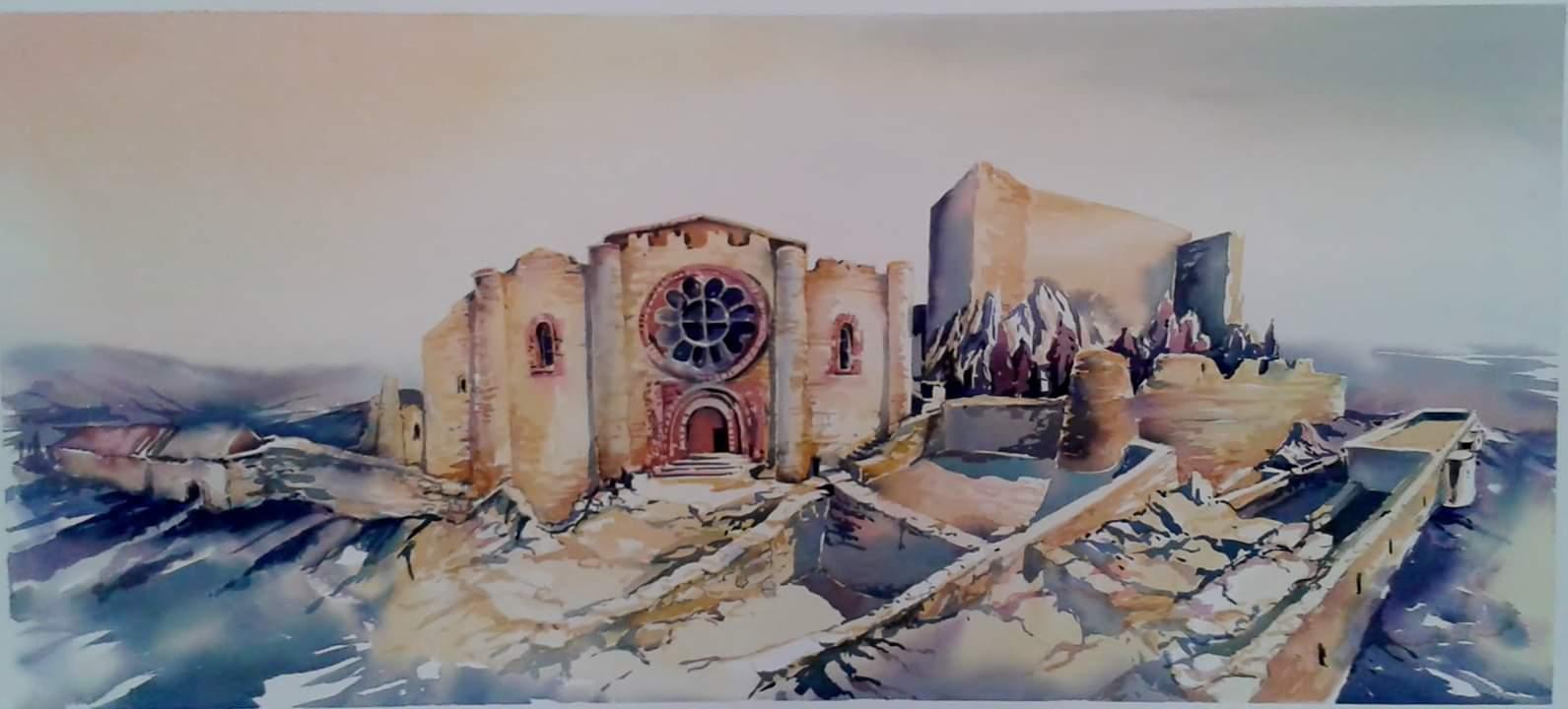Sacro Convento de Calatrava la Nueva. Acuarela realizada por —La Iglesia del Sacro Convento de Calatrava la Nueva. Acuarela realizada por Natalia Zhylitska.