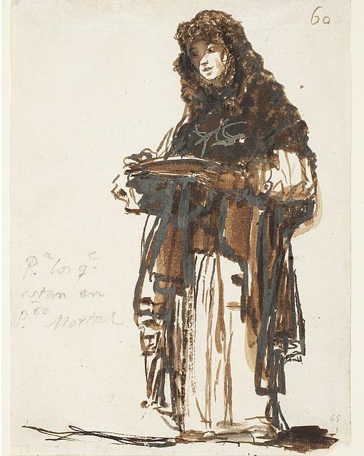 """Dibujo de Goya: """"para los que están en pecado mortal""""."""