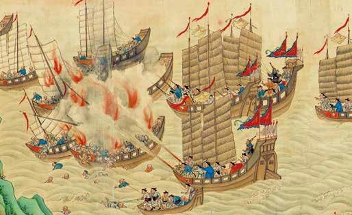Escaramuza de juncos con piratas en el mar del sur de la China. Rollo de la dinastía Qing