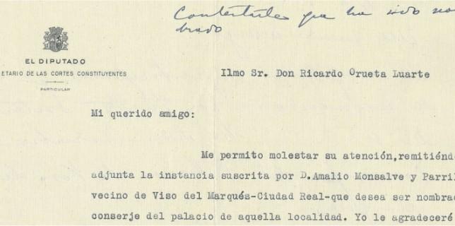 Carta del diputado por Ciudad Real Don Cirilo del Río al Director Genral de Bellas Artes.