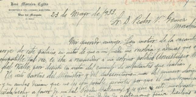Carta de recomendación del Secretario del Juzgado Municipal, D. José Morales Egido.