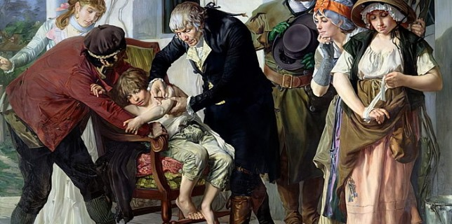 Cuadro pintado por Gaston Melingue, en el que aparece Edward Jenner realizando la primera vacunacón contra la viruela.