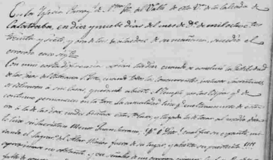 Texto de los libros parroquiales donde se narra el sacrilegio que se cometió en la Iglesia al tirar las Sagradias Ostias.