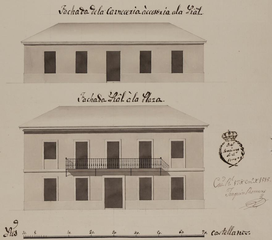 Fachada principal de la plaza y de la carnecería.