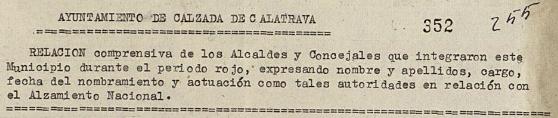 Informe sobre alcaldes y concejales en la Causa General.