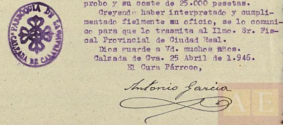 Firma del informe sobre daños en las Iglesias de Calzada durante la Guerra Civil