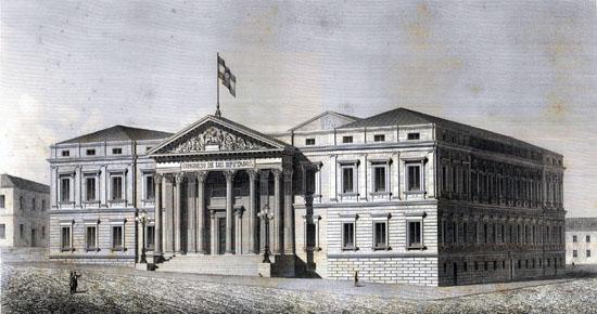 Edificio del Congreso de los Diputados en el siglo XIX