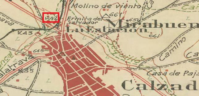 Plano, del ING, donde se aprecia el Km. 42 de la vía del trenillo, donde se produjo el derrumbé de parte de la vía.