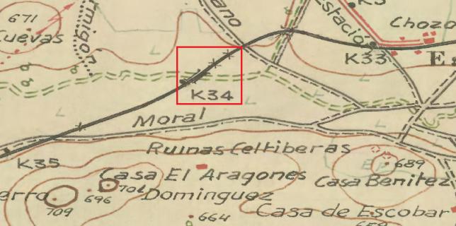 Se puede apreciar, en este plano del ING, el puente sobre el río Jabalón donde se produjo el derrumbe (Km. 34) que impidió la circulación del trenillo.